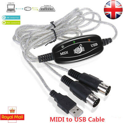 1.8m USB to MIDI Interface Adapter Cable MIDI In & Out Lead for Win XP Vista Mac