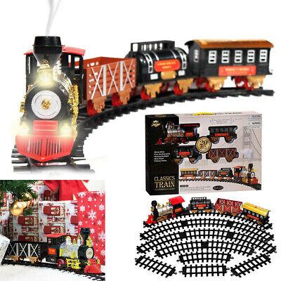 Classic Sound Smoke Light Christmas Train Toy Round Track Set For Kids Xmas Gift