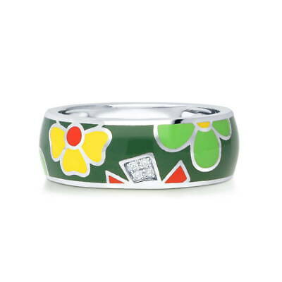 BERRICLE Sterling Silver Enamel CZ Flower Cocktail Fashion Right Hand Ring