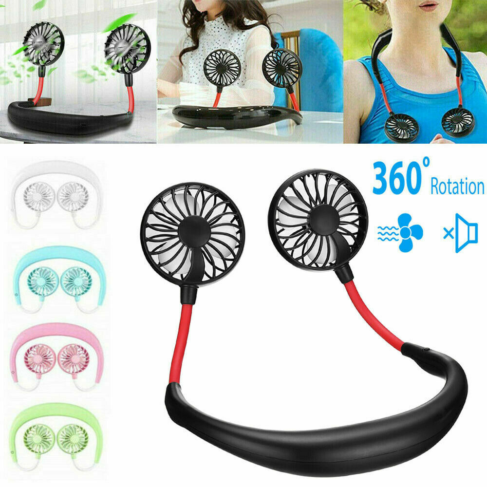 Portable USB Rechargeable Neckband Lazy Neck Hanging Dual Cooling Mini Fan USA