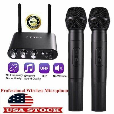 Professional UHF 10 Channel Dual Wireless Microphone Mic System Handheld Karaoke
