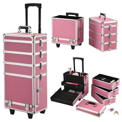 Extra Large Pink Professional Cosmetic Makeup Rolling Travel Vanity Case Trolley