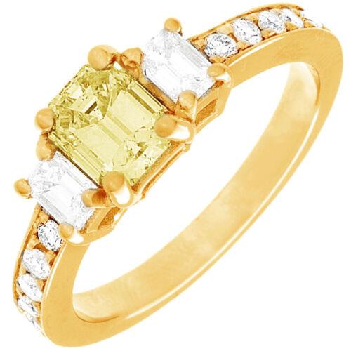 Diamond Engagement Ring GIA Certified Fancy Yellow Emerald Cut 18k Gold 2.31 CT 5