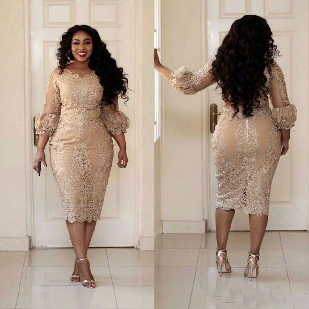 Details about Plus Size Mother of the Bride Dresses Champagne Mermaid  Women\'s Tea Length Gown
