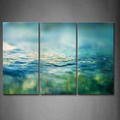 Framed Blue Green Turquoise Clean Water Canvas Print Wall Art Painting Picture