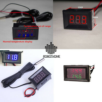 Waterproof Thermometer Led Display Dual Digital Temperature Sensor Ntc Probe 1m