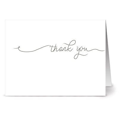 72 Thank You Cards  - Simple Thank You - Gray Envs