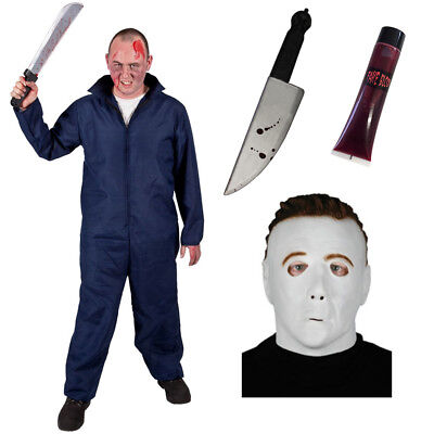 MENS MICHAEL MYERS COSTUME WITH OFFICIAL LICENSED MASK DELUXE H20 HALLOWEEN SUIT