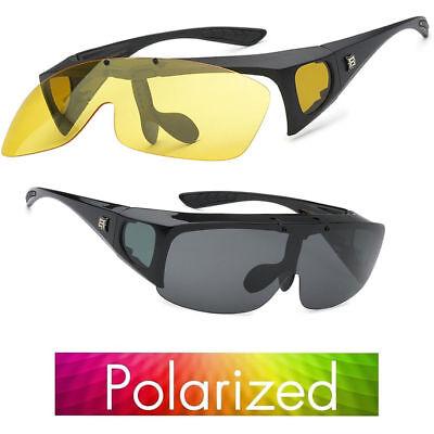 Polarized Sunglasses Cover Put Wear fit over Prescription Glasses Driving Flips