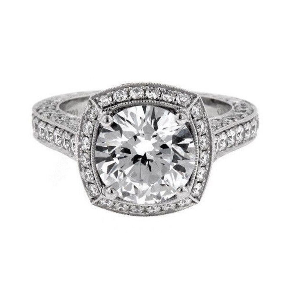 GIA Certified 3.39 carat Round Cut Halo Diamond Engagement Ring 18k White Gold
