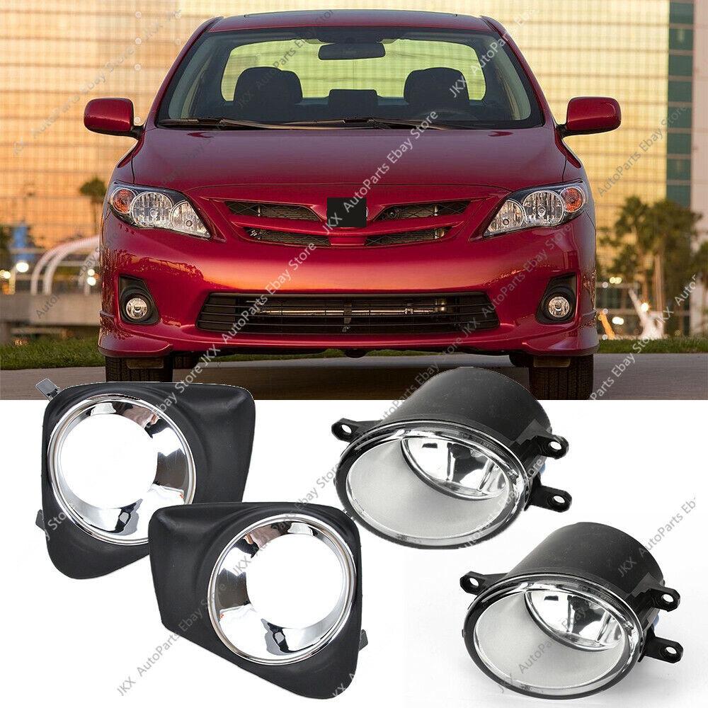 Chrome Bumper Grille Bezels Fog Light Lamp Kit For Toyota Corolla 2011 2013 Ebay