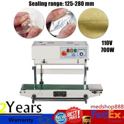110v Auto Continuous Band Sealer Vertical Stainless Steel Bag Sealing Machine Us
