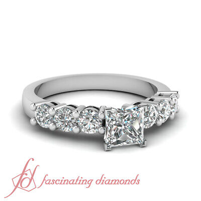 Engagement Ring 1 CARAT Princess Cut Natural Diamond VVS2-F Color GIA Certified