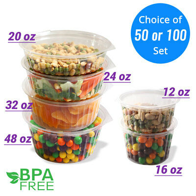 12oz 16oz 20oz 24oz 32oz 48oz Clear Round Deli Food/Soup Container Cups w/ Lids