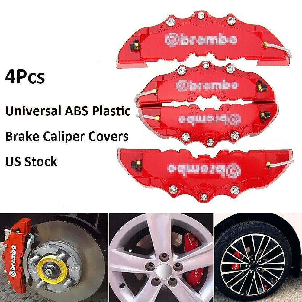 4Pcs 3D Brembo Style Car Universal Disc Brake Caliper Covers Front /& Rear Kits