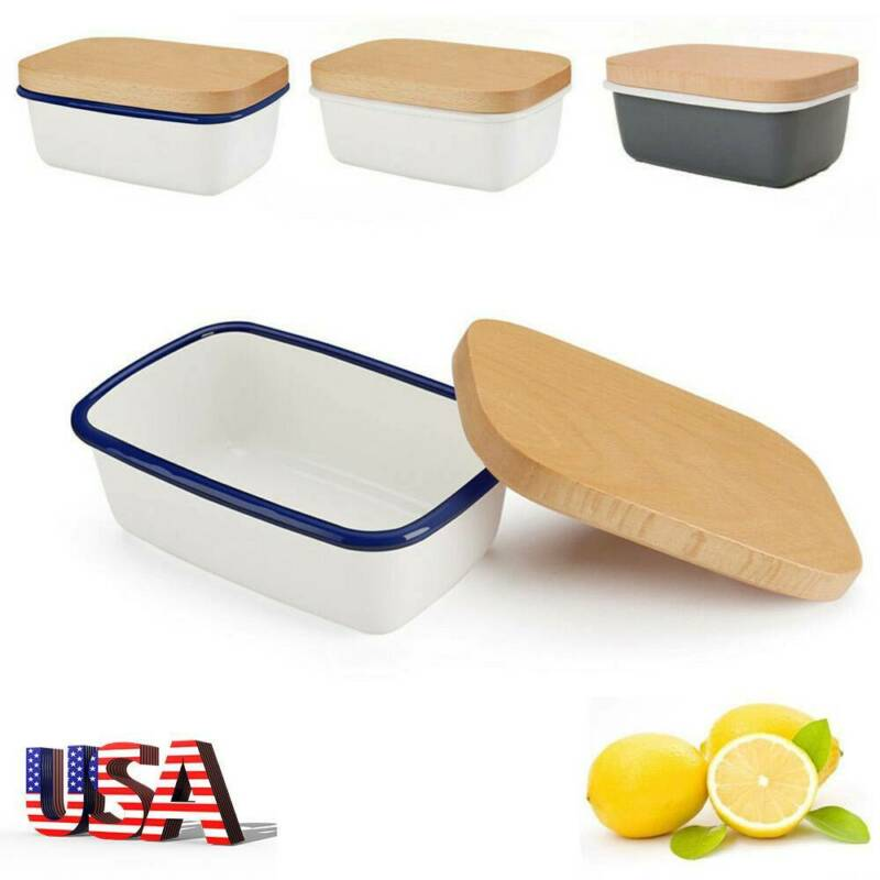 Enamel Butter Dish Kitchen Storage Butter Container Box with