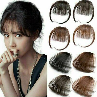 Thin Neat Air Bangs Remy Hair Extensions Clip in on Fringe Front Hairpiece US Hair Care & Styling