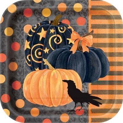 Zubehör Party Halloween, 8 Geschirr in Papier Krähe 18cm Ps 11956