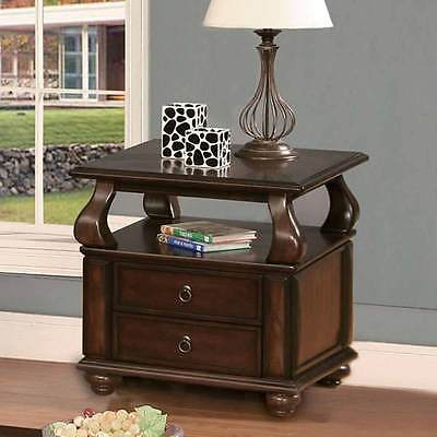Amado Occasional Living Room End Side Snack Table Stand 2 Drawers Shelf Walnut