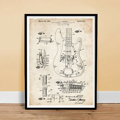 FENDER PRECISION BASS GUITAR 1961 PATENT POSTER ELECTRIC P PBASS (unframed)