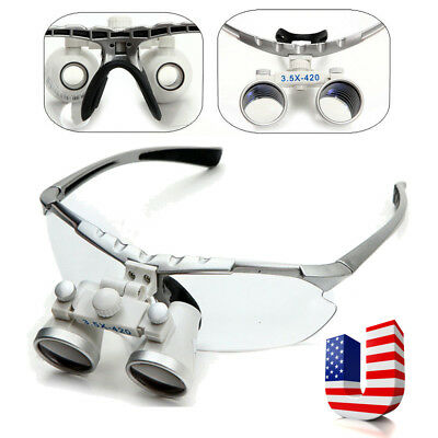 Dentist Silver Dental Surgical Medical Binocular Loupes 3.5x420mm Lens Magnifier