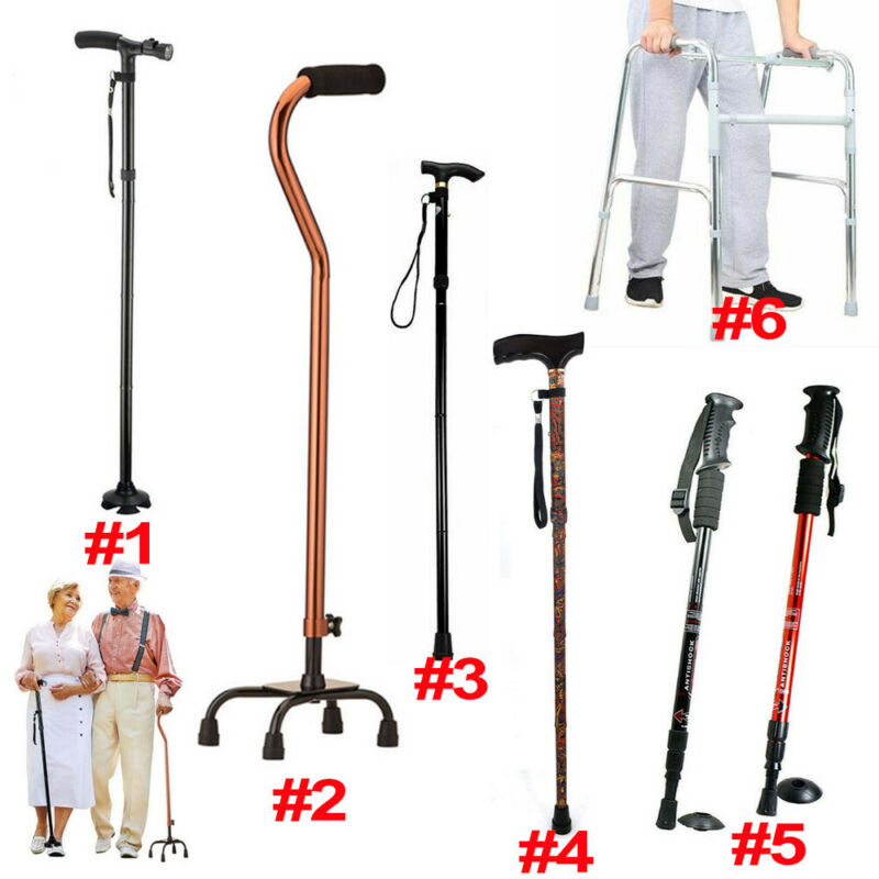 Adjustable Medical Walking Cane Stick Mobility Quad Cane Walker Trekking Pole
