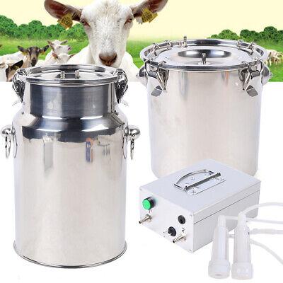 7l Dual Head Milking Machine Vacuum Impulse Pump Stainless Steel Cow Goat Milker