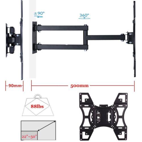 Full Motion TV Wall Mount Tilt Swivel 40 42 46 50 55 65 inch