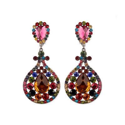 Clip On Multi Crystal Rhinestone Bridal Wedding Prom Party Chandelier Earrings Multi Crystal Chandelier Earrings