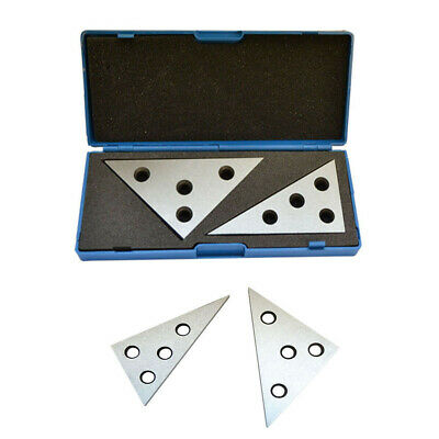 2 Pc Hardened Steel Precision Ground Angle Plate 454590 306090 Degree Set
