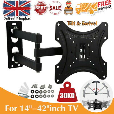 TV Wall Mount Bracket Tilt Swivel Flat For 10 15 20 23 25 30 32 38 40 42 INCH TV
