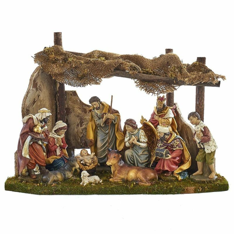 12 Piece Christmas Nativity Scene Set with Stable Figurine 11 Inch N0284 New