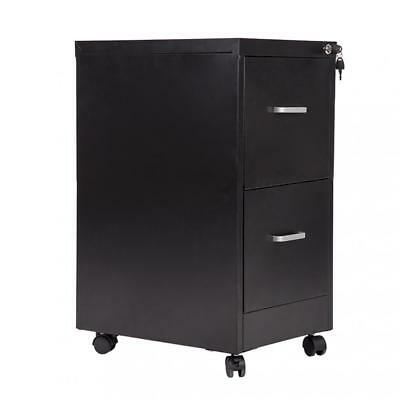 New 18 Wide 2 Drawer Letter Size Steel File Cabinet With Lock And 4 Wheels