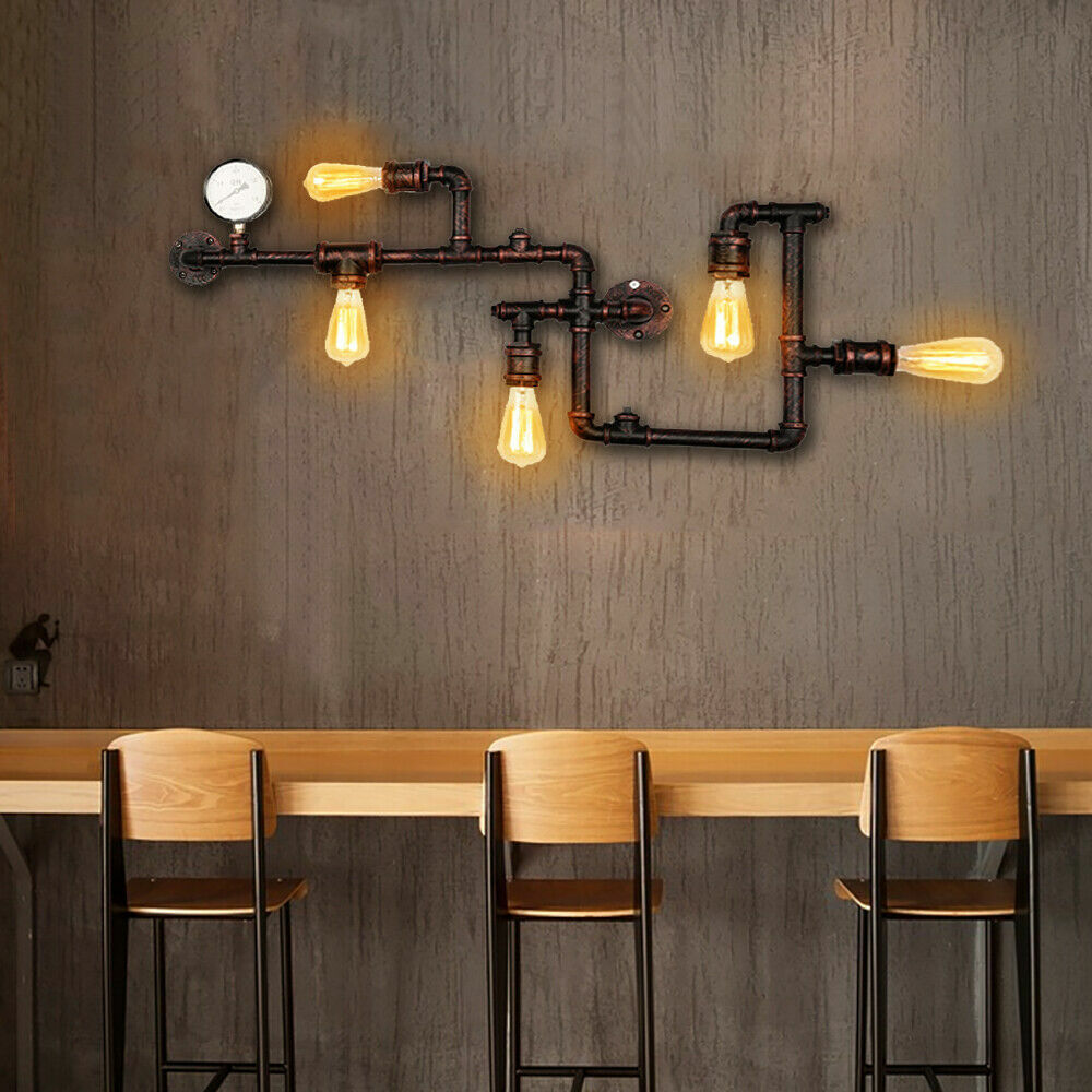 Industrial Steampunk 5 Heads Vintage Water Pipe Wall Sconce