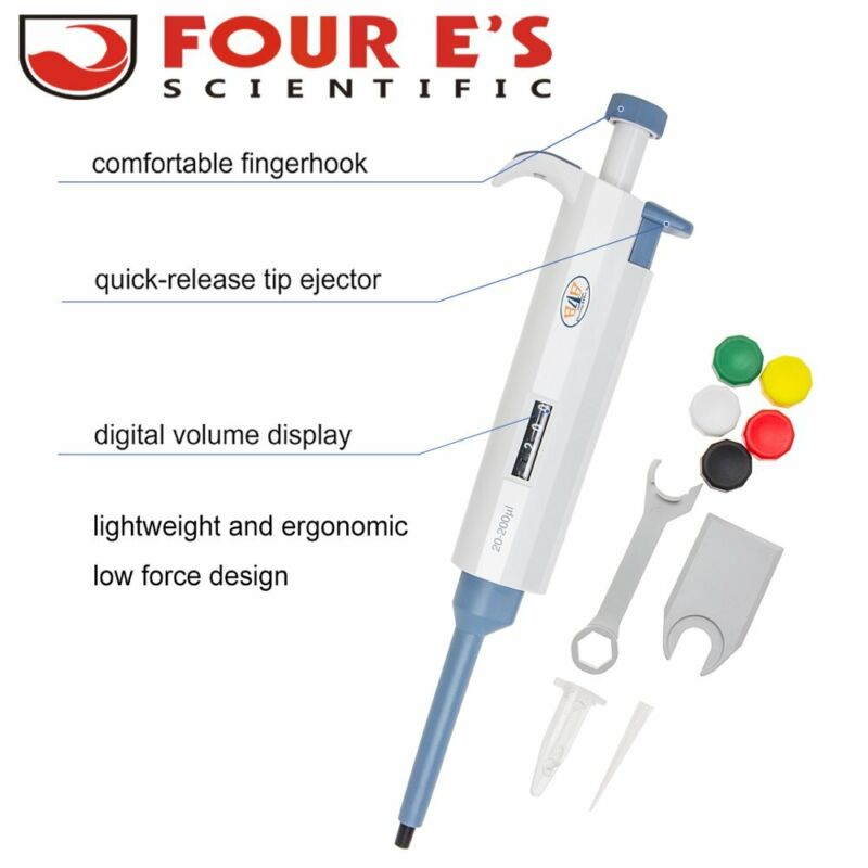 Lab Single Channel Adjustable Micro Pipette Pipettor Digital Display 20-200ul