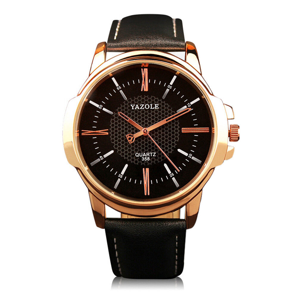 Men Luxury Stainless Steel Business Quartz Watch Leather Wrist Watches Y358