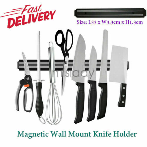Magnetic Knife Scissor Holder Strip Wall Rack Shelf Tool For Kitchen Dining 13in