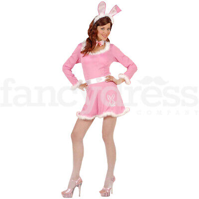 Playboy Bunny Outfit (Sexy Pink Bunny Rabbit Hostess Ladies Fancy Dress costume Easter Playboy)
