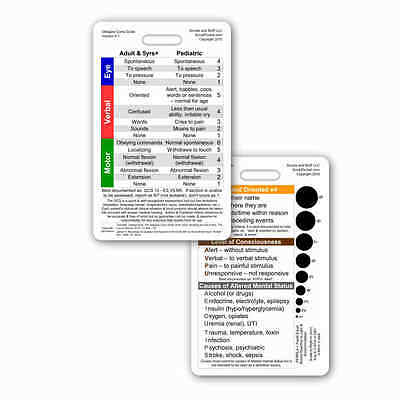 Glasgow Coma Scale Gcs Vertical Badge Id Card Pocket Reference Nurse Medic Rn