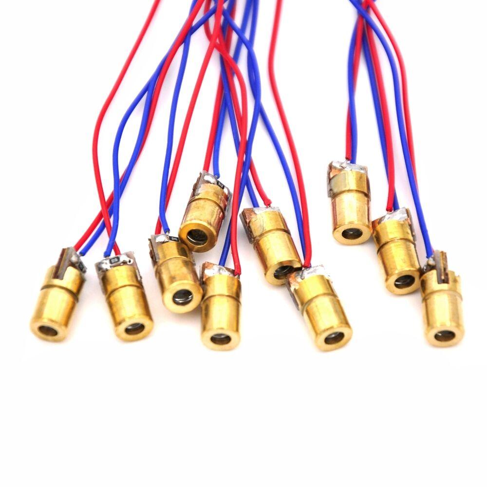 10Pcs 5V 650nm 5mW Red Dot Laser Module Laser Diodes Sights Laser Pointers