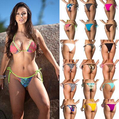 Sexy Women's Bikini Thong Bottom Brazilian Skimpy Swimwear Beach Teeny Tie (Brazilian Side Tie Thong Bikini)