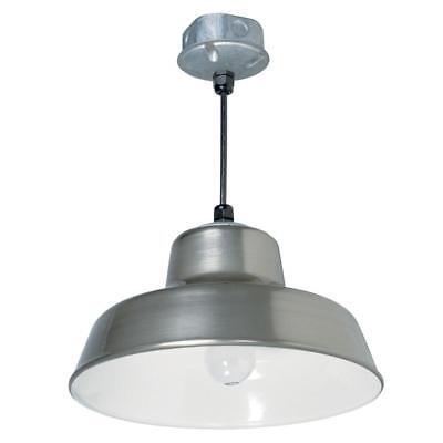 Pendant Reflector - Indoor Outdoor 1-Light 14 in. Silver Metal Hanging Reflector Pendant