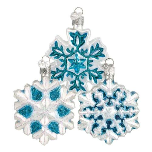 SET OF 3 ASSORTED SNOWFLAKE OLD WORLD CHRISTMAS WINTER GLASS ORNAMENTS NWT 36076