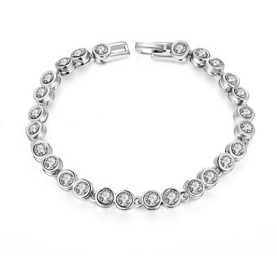 "32.00 Carat Round White Tennis Bracelet 7.5"" in 18K White Gold Plated"