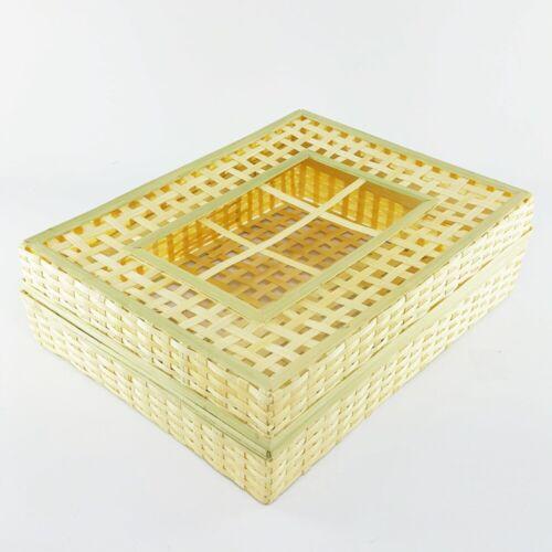 Bamboo Basketry Box Thai Traditional Handmade Wicker Operculate Gift Weave Case