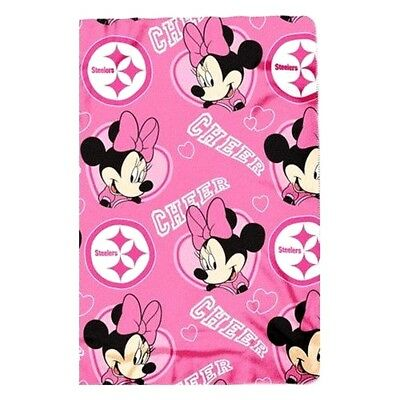 PITTSBURGH STEELERS PINK MINNIE MOUSE BLANKET FLEECE THROW  SOFT NFL NWT ()