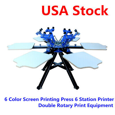 6 Color 6 Station Screen Printing T-shirt Press Printer Double Rotary Machine