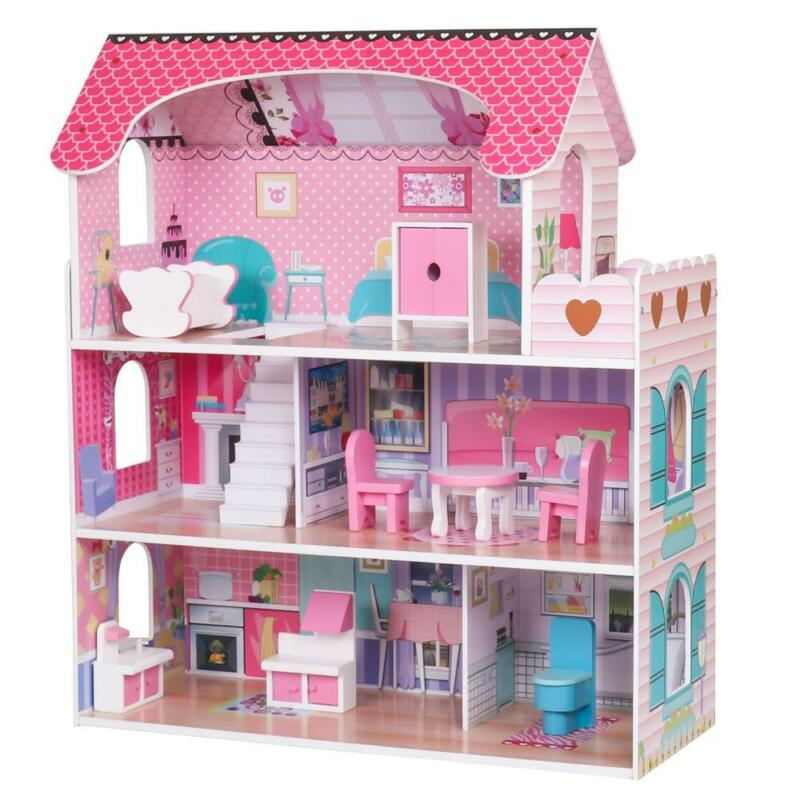 Girls Dream Wooden Pretend Play House Kids Doll Dollhouse Mansion w/ Furnitures