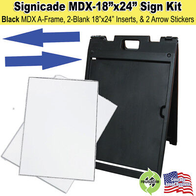 Black Signicade Mdx Portable Sign Kit With 2 Blank Sign Inserts Arrow Stickers