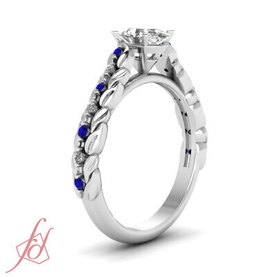 1 Ct Oval Shaped Diamond & Round Sapphire Platinum Engagement Rings For Her GIA 2